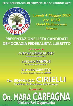 Presentazione Candidati Democrazia Federalista Lubritto